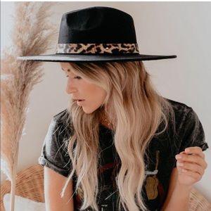 Leopard Animal Print Banded Wide Brim Hat